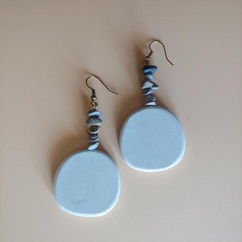 cement round earrings: jasper