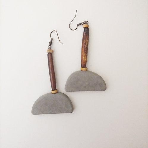 cement mountain earrings: buffalo horn