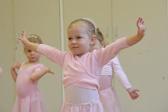 Preschool baby ballarina in class