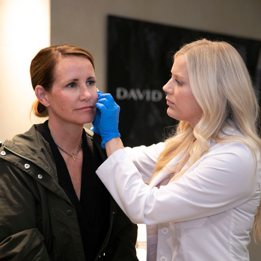 A dermatologist demonstrating botox injections