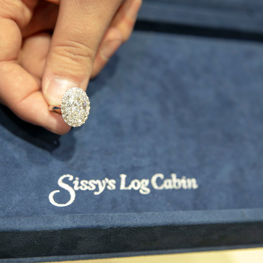 A diamond ring being displayed at the event