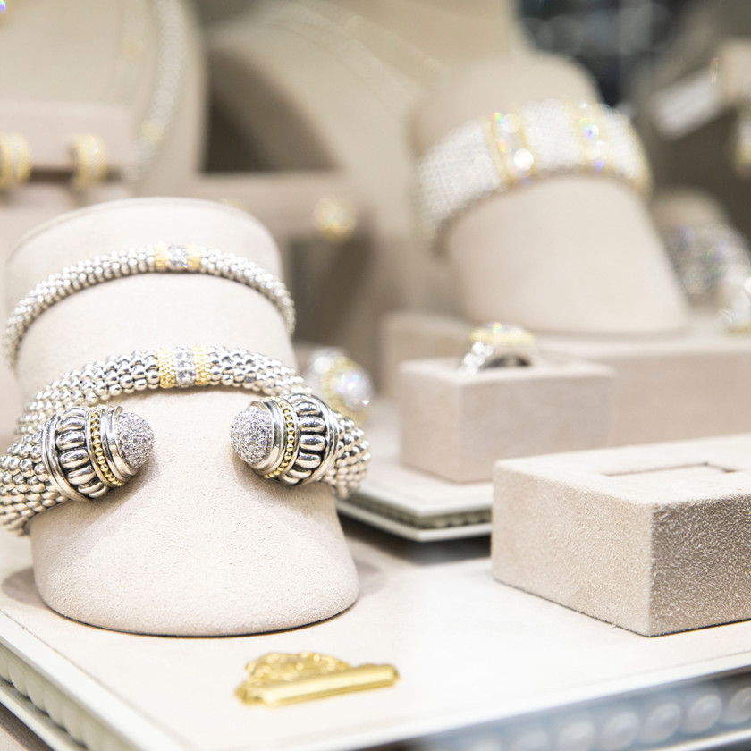 A close-up photo of some of the jewelry on display