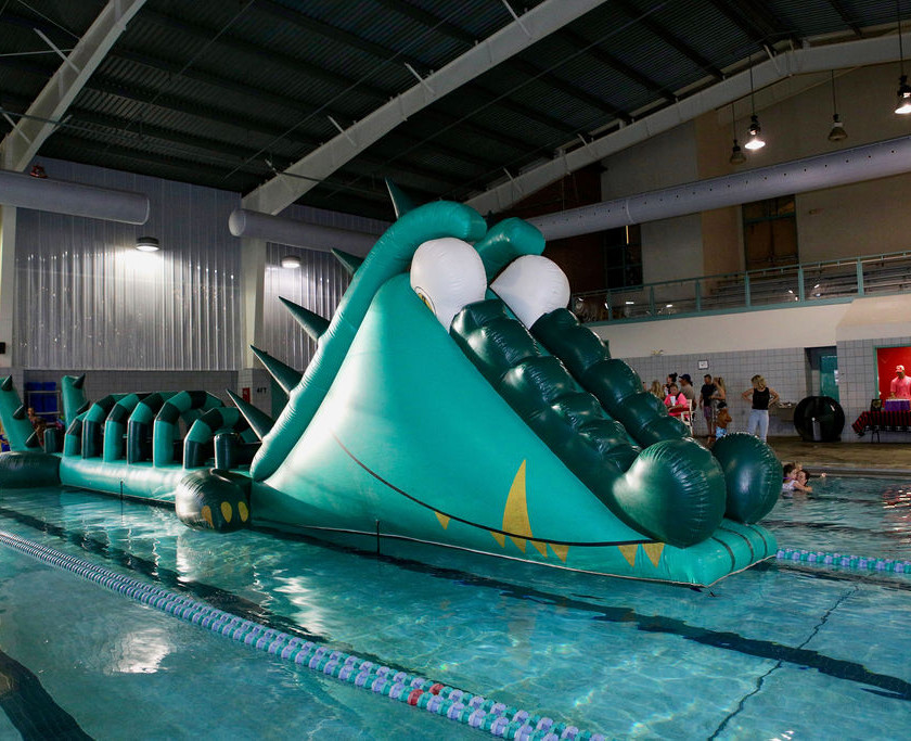 photo of the inflatable water slide in the pool