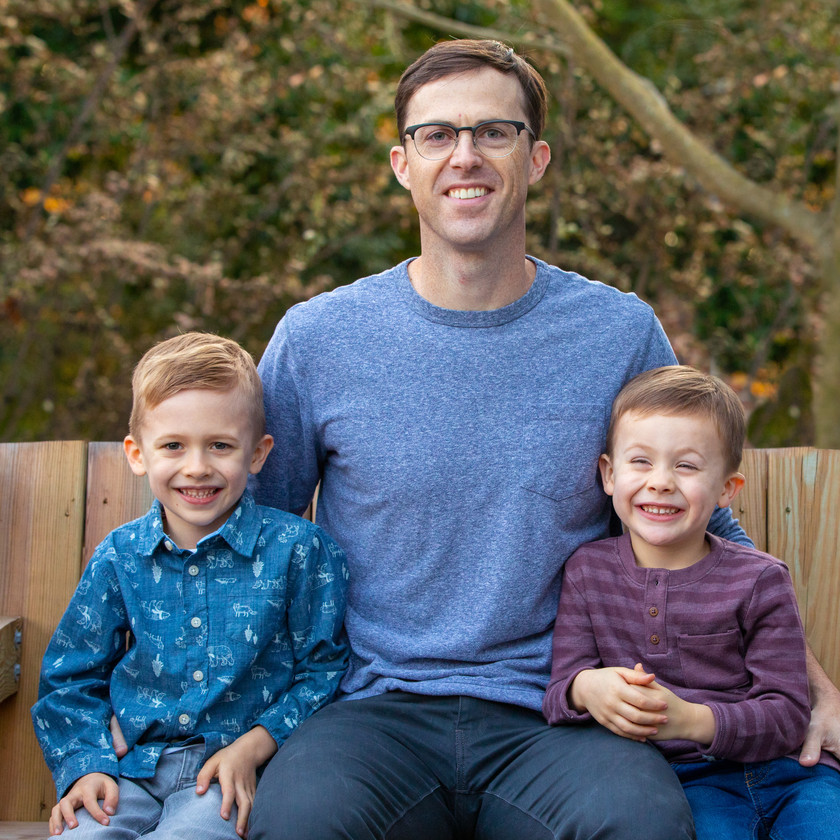 Father with his two sons, outdoor fall photo