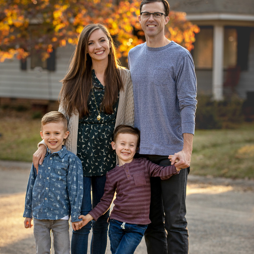 Family photo on autumn day