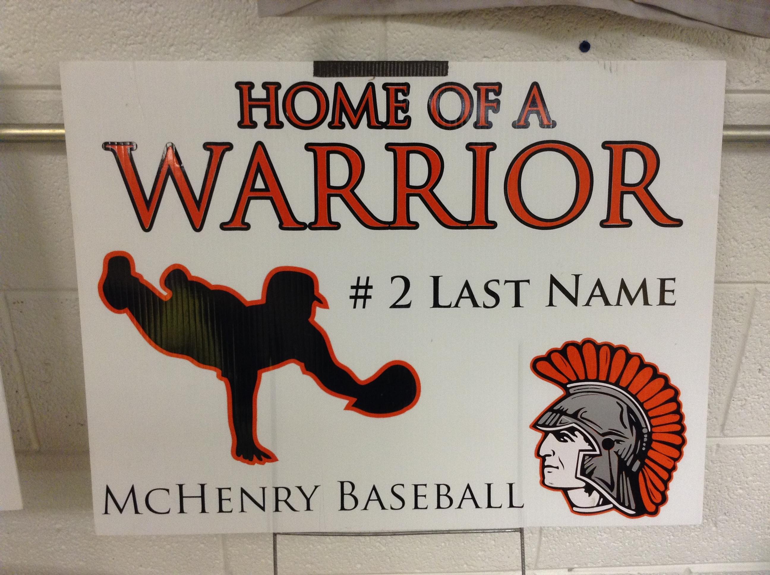 Warrior Baseball Vinyl Sign