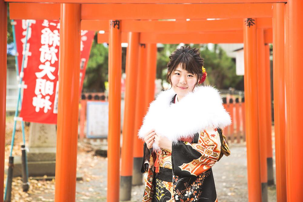 滋賀県長浜市の長浜八幡宮で成人前撮りをフリー出張カメラマンがしました。