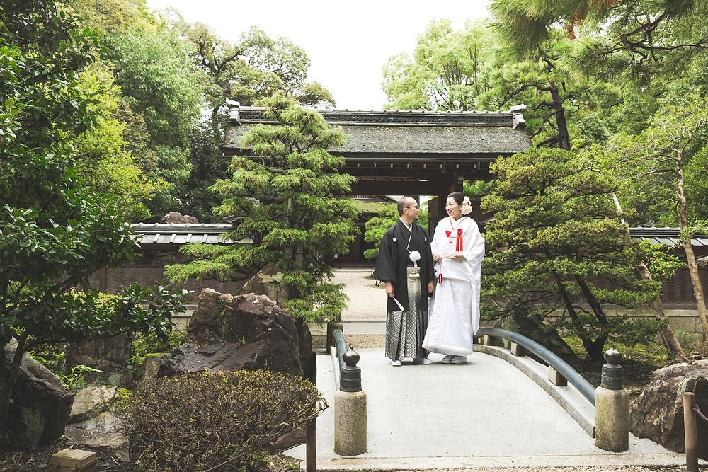 滋賀県長浜市にある慶雲館で、白無垢・羽織袴姿の結婚前撮りを出張カメラマンがしました。