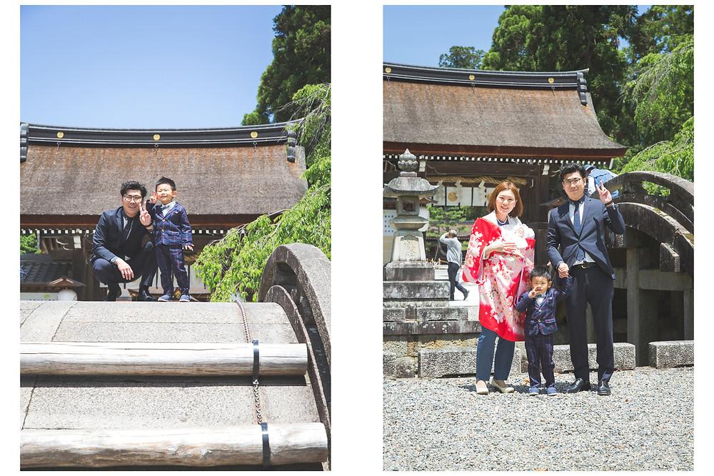 滋賀県犬上郡の多賀大社でお宮参りと七五三の写真撮影をフリーカメラマンがしました