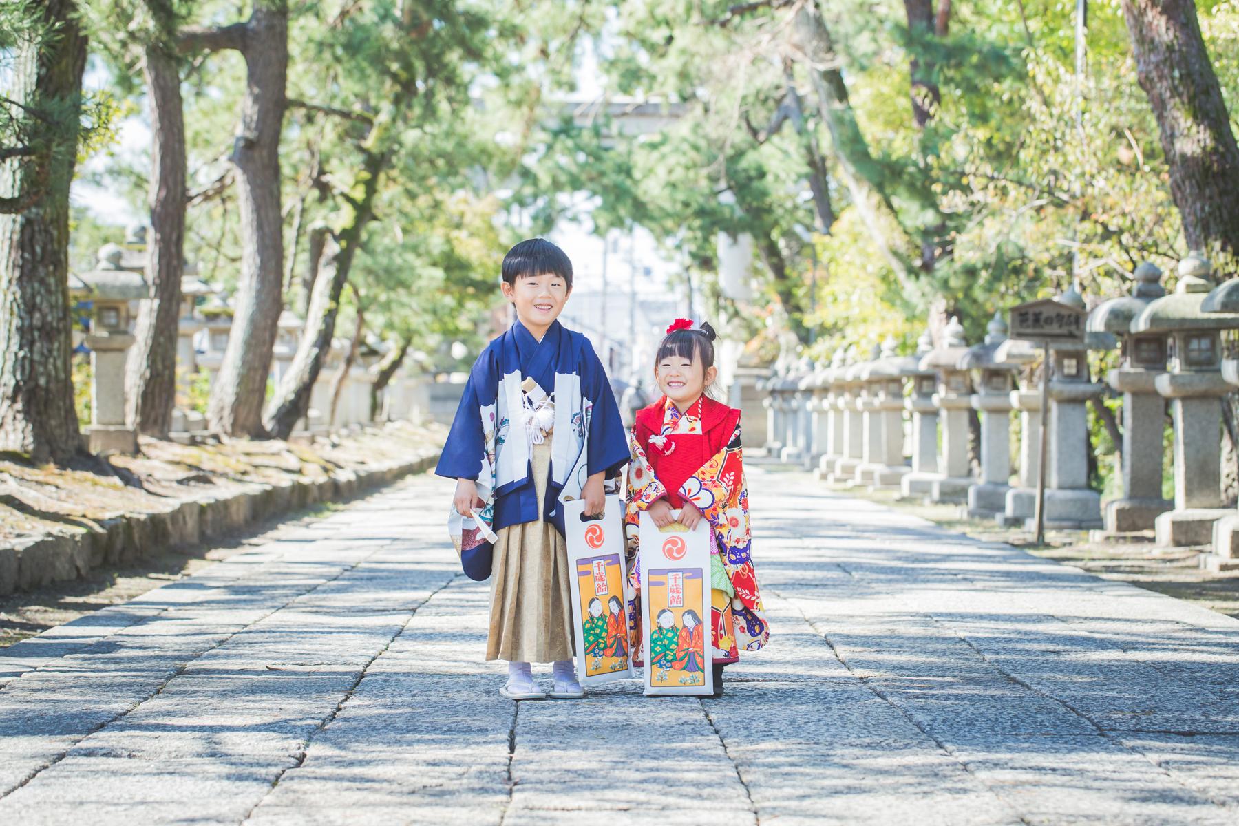 滋賀県長浜市で兄妹さんの七五三出張撮影