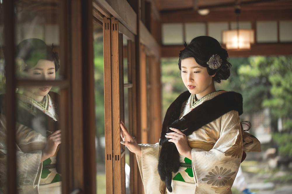 滋賀県長市の慶雲館でフリーカメラマンが成人前撮り出張撮影をしました