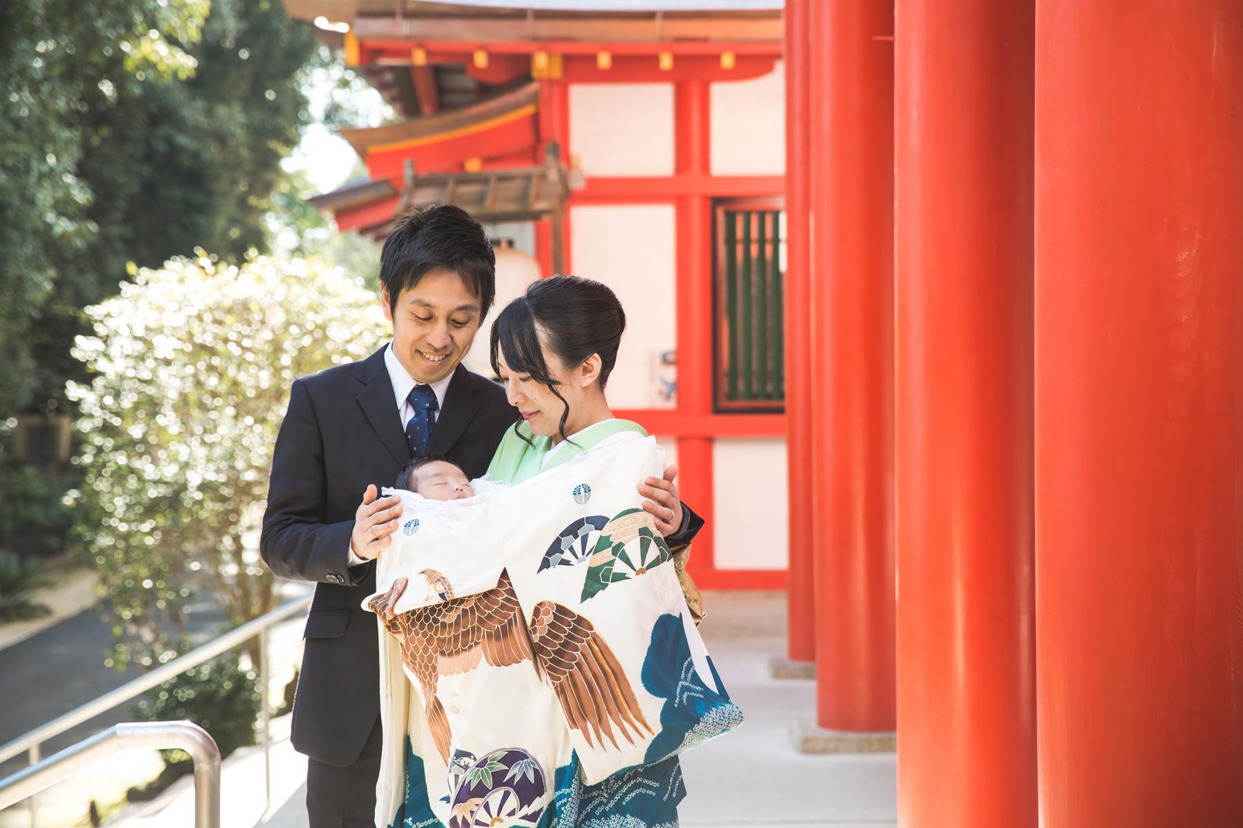 ご自宅と近江神宮で初宮参り撮影