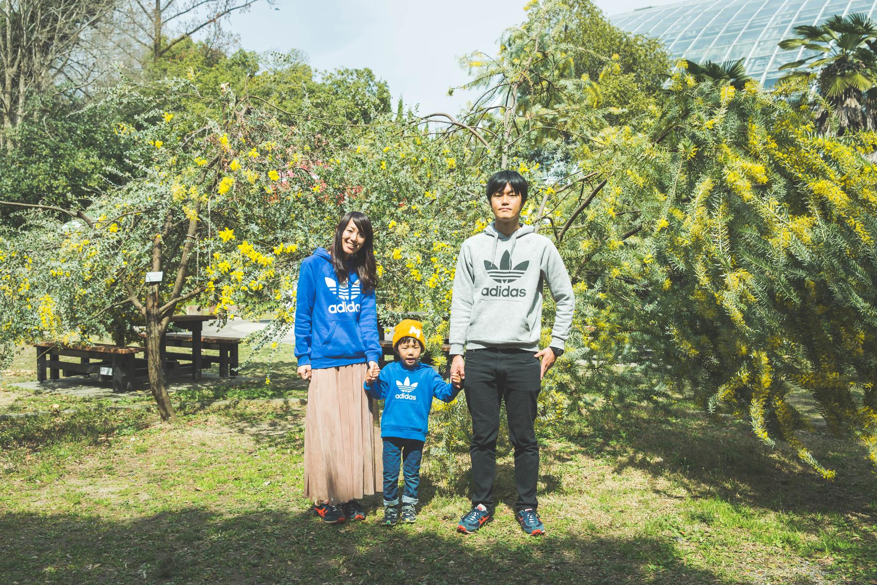 京都府立植物園で家族写真撮影
