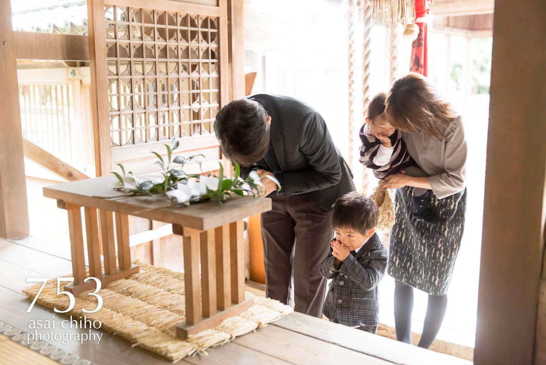 滋賀県安土の活津彦根神社で七五三前撮り撮影