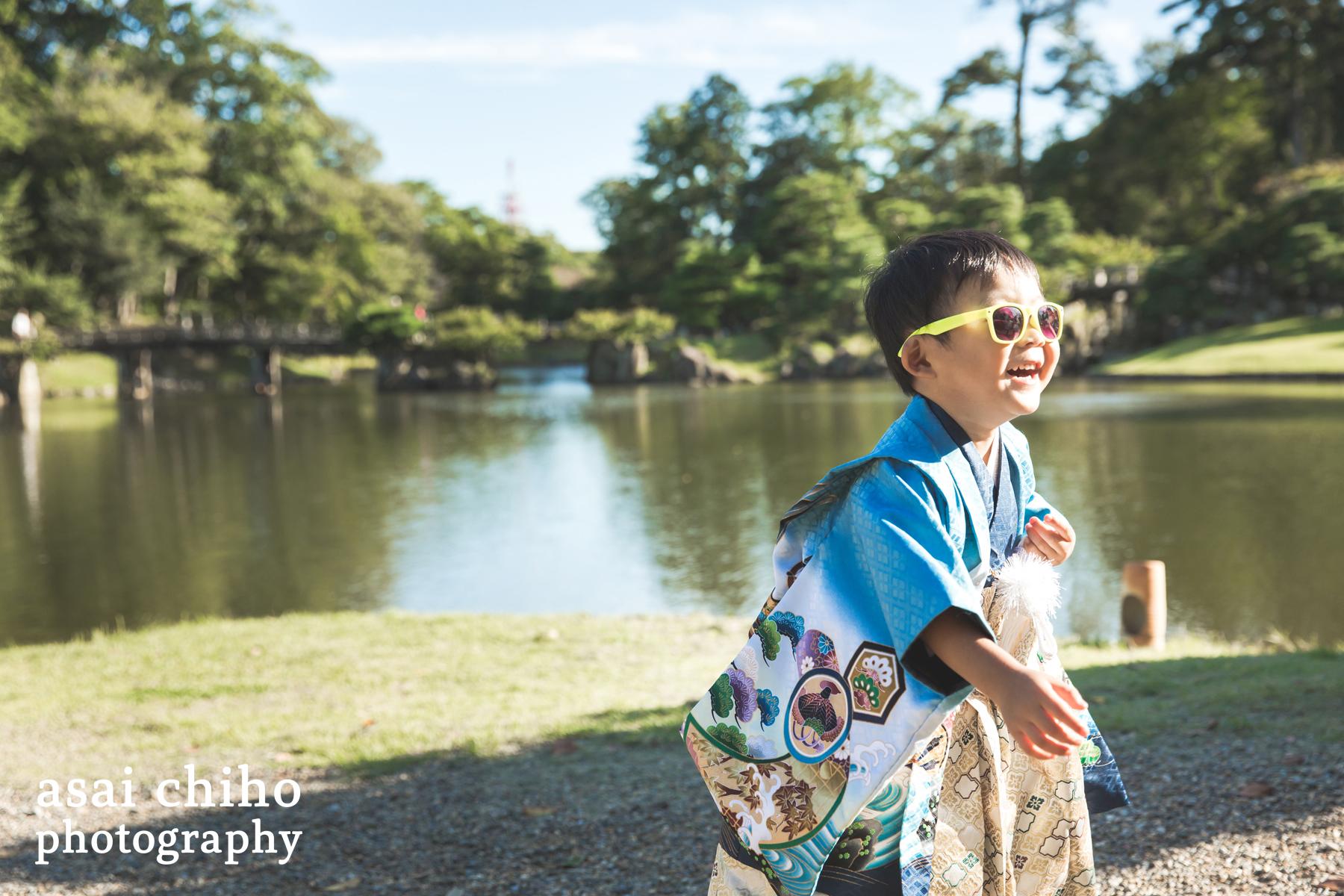 滋賀県彦根市の玄宮園での七五三撮影