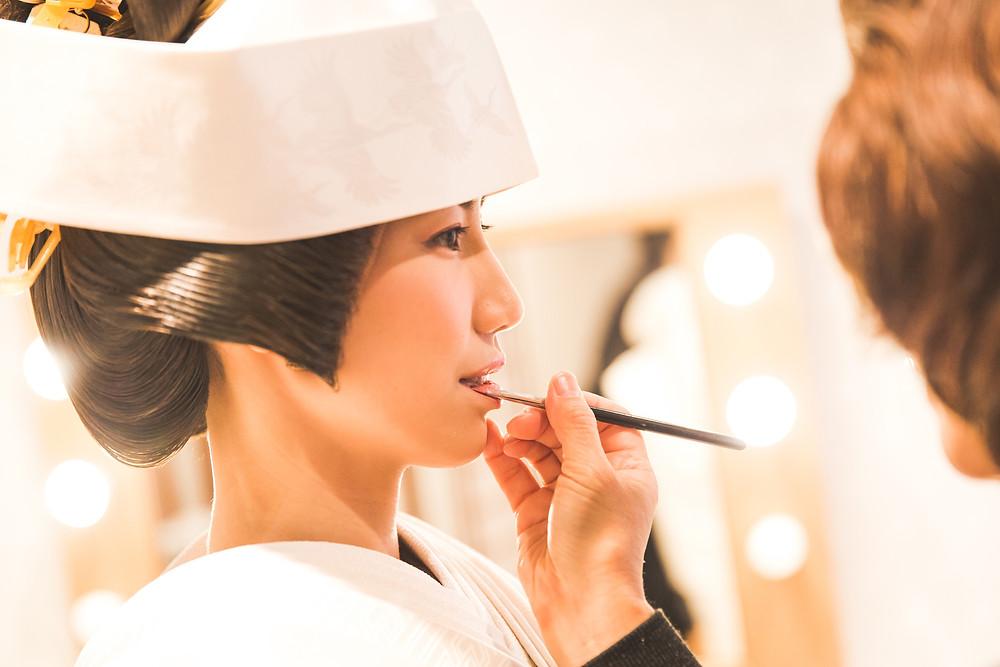 三重県伊勢市の猿田彦神社での結婚式撮影。お支度風景。