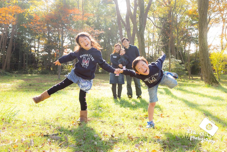 滋賀県彦根市の公園で家族写真撮影