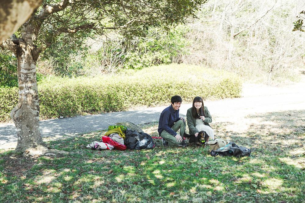 滋賀県蒲生郡竜王町の希望ヶ丘文化公園でフリーカメラマンが家族写真の撮影をしました