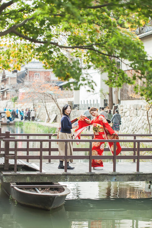 滋賀県近江八幡市の八幡堀で成人前撮りロケーション撮影