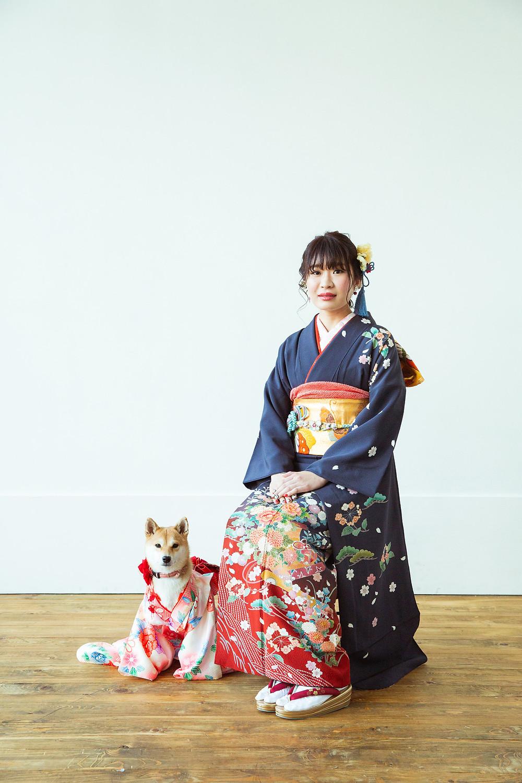 滋賀県長浜市の写真館と長浜八幡宮で成人前撮り撮影をペットのワンちゃんたちとしました