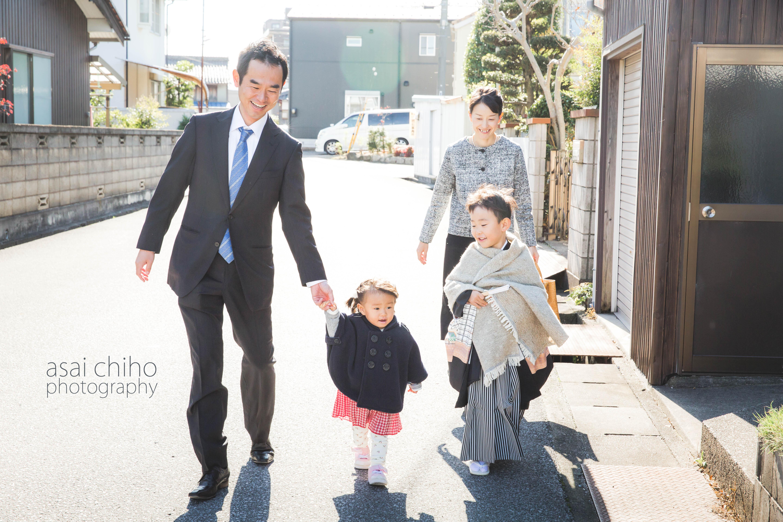 滋賀県長浜市のご自宅から同行撮影をした七五三撮影のお写真