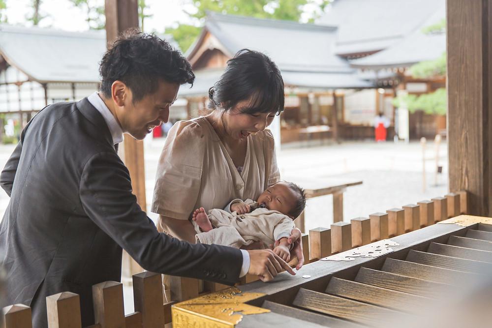 滋賀県で新築のお家と犬上郡多賀長の多賀大社でお宮参り出張撮影