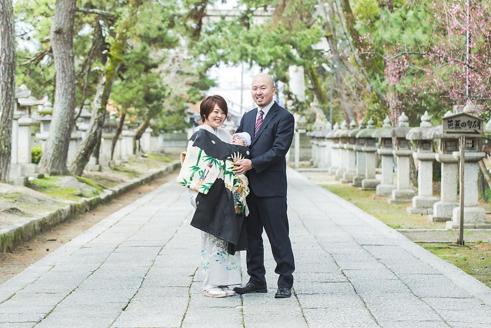 滋賀県長浜市の長浜八幡宮で男の子のお宮参り写真撮影をしました。