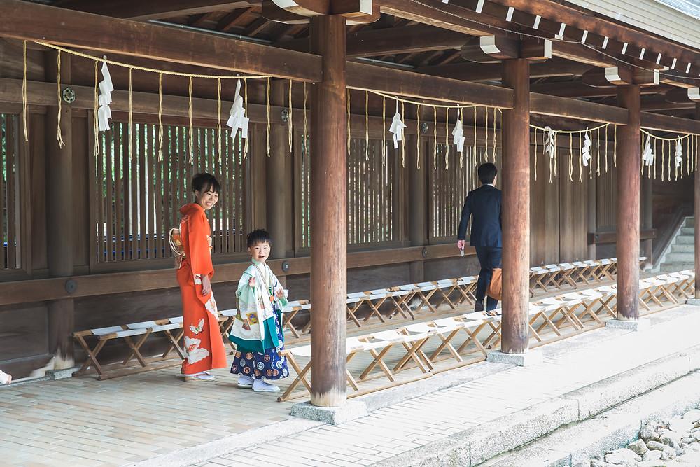滋賀県大津市のご自宅と近江神宮で七五三撮影