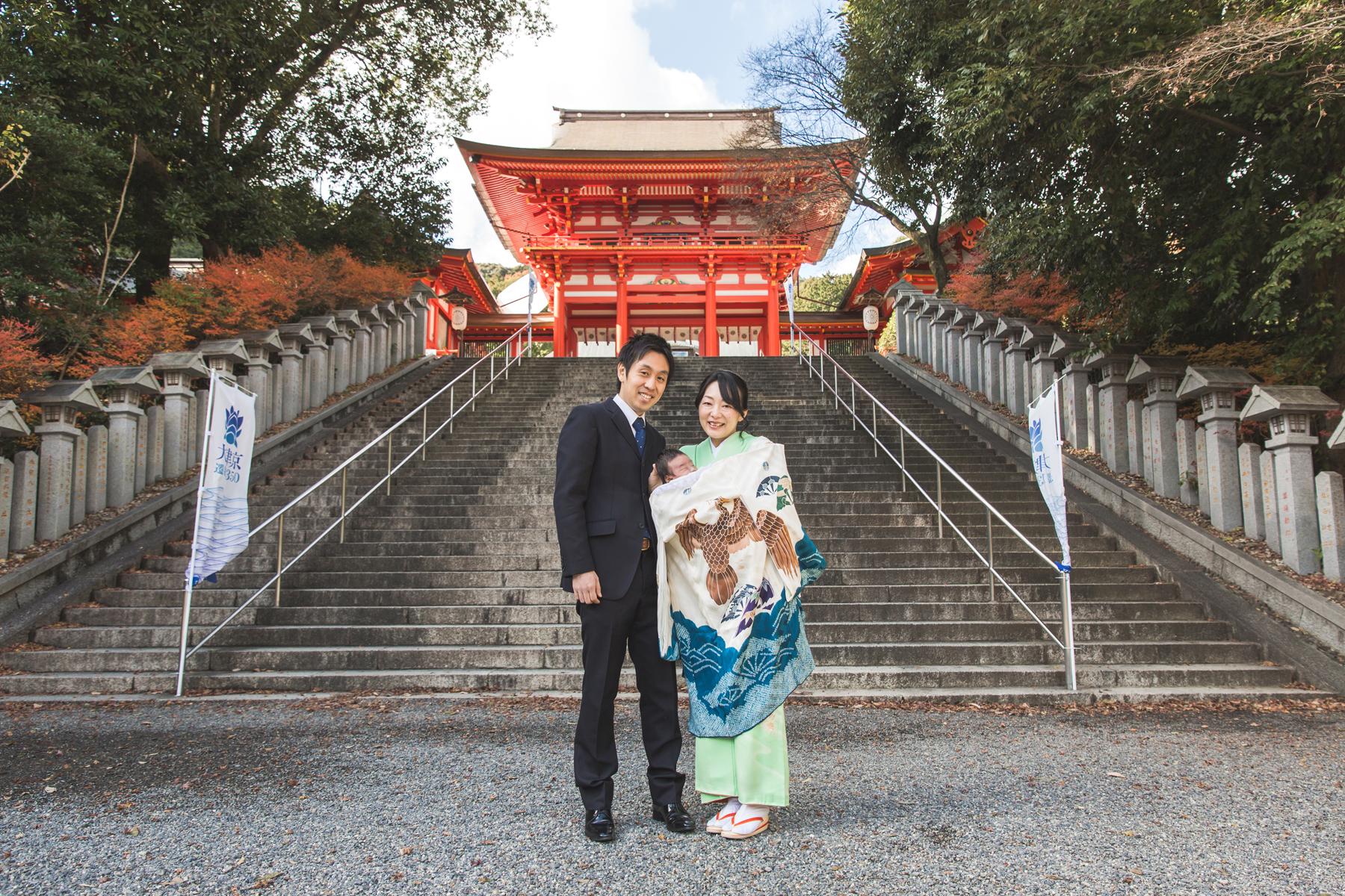 ご自宅と近江神宮でお宮参り撮影