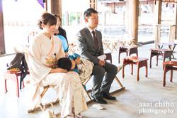 滋賀県彦根市の護国神社での七五三撮影