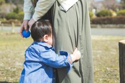 滋賀県長浜市の豊公園での1歳誕生日記念撮影