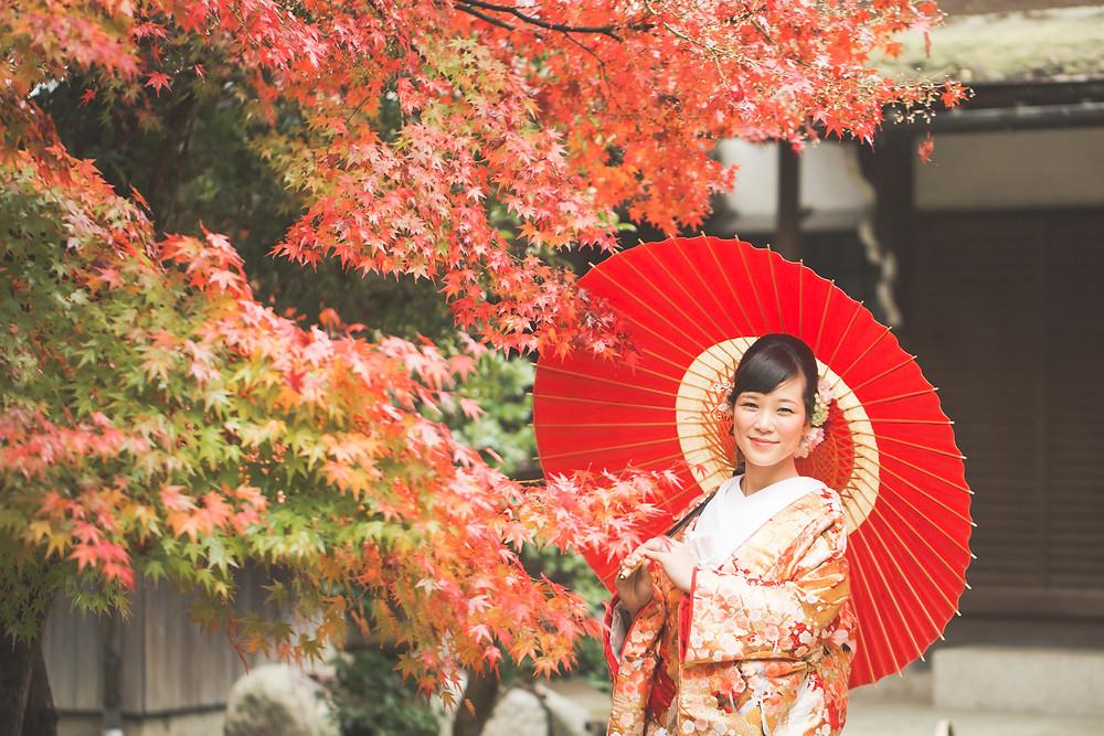 滋賀県長浜市の慶雲館で結婚前撮りを色打掛と羽織袴を来て、フリーカメラマンがしました。