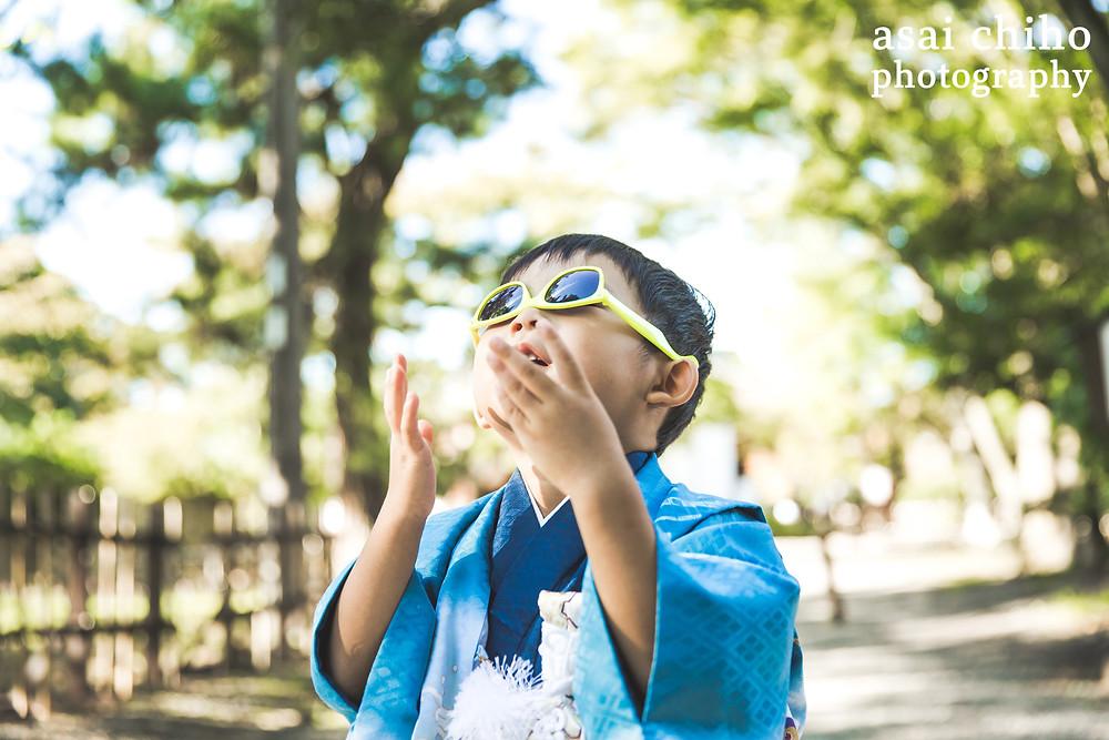 滋賀県彦根市の玄宮園での七五三撮影のお写真