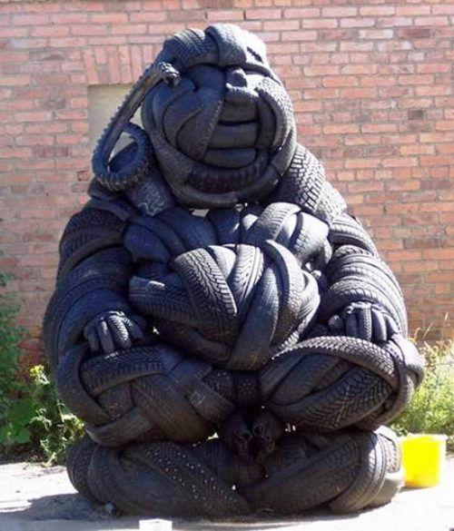 Recycled tire Bhudda