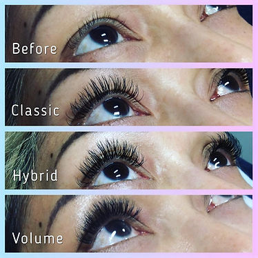 Classic Hybrid Volume lashes difference between eyelash extensions natural full Kim K