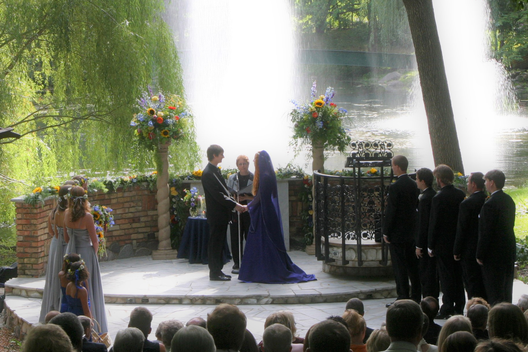 Outdoor wedding at Woods Chapel Long Lak