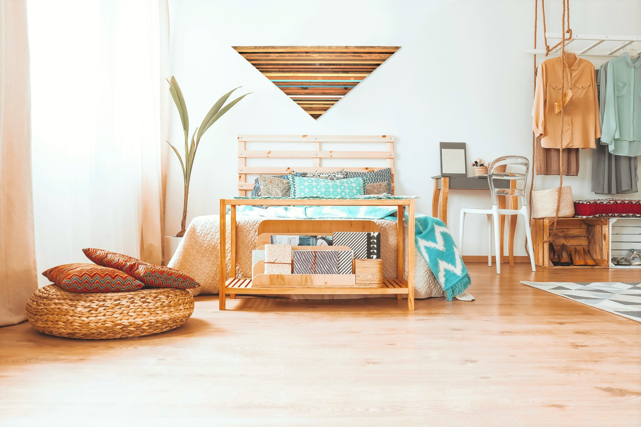 Bohemian bedroom Triangle art