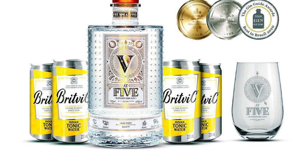 AT FIVE GIN + 4 tônicas inglesas Britivic + copo exclusivo