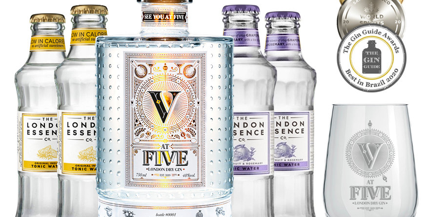 AT FIVE GIN + 4 tônicas London Essence + copo exclusivo