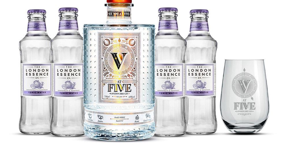 AT FIVE GIN + 4 London Essence Grapefruit + copo exclusivo