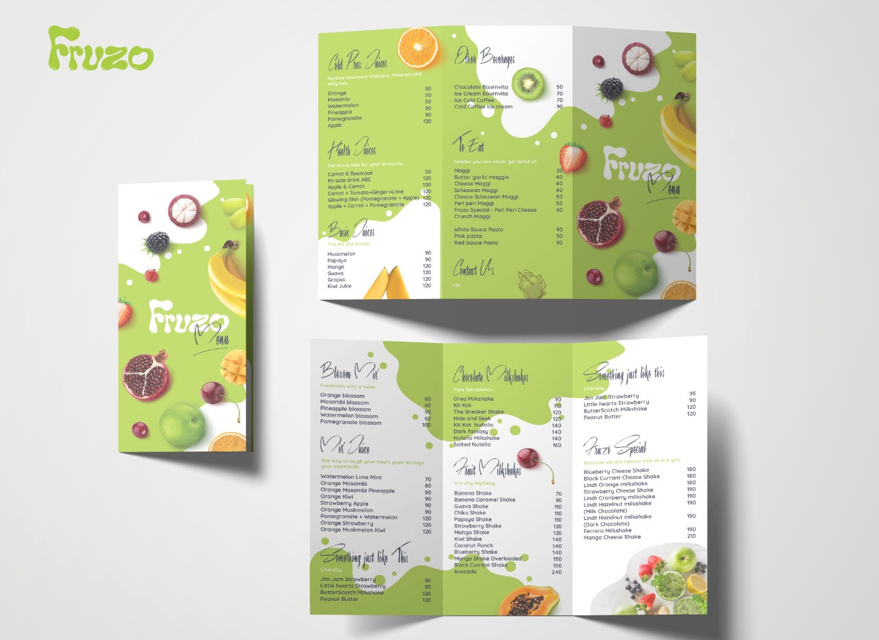 Fruzo Menu Design_Design Process