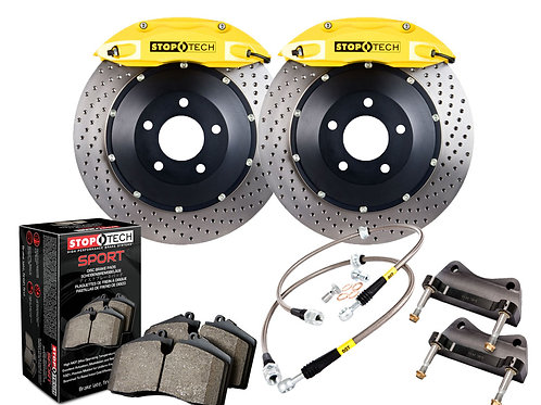 StopTech Big Brake Kit; Black Caliper; Slotted Two-Piece Rotor; Rear Front