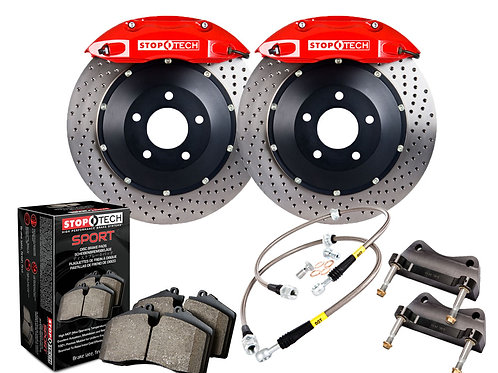 StopTech Big Brake Kit; Black Caliper; Drilled Two-Piece Rotor; Front Front