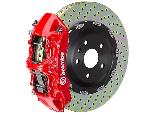 Brembo GT Series 6-Piston Front Big Brake Kit with 15-Inch Drilled Rotors; Red C
