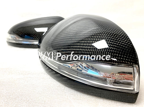 Replacement Carbon Fiber Side Mirror Covers with LED Light for Mercedes Benz