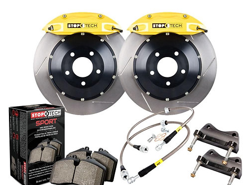 StopTech Big Brake Kit; Black Caliper; Drilled Two-Piece Rotor; Rear Front