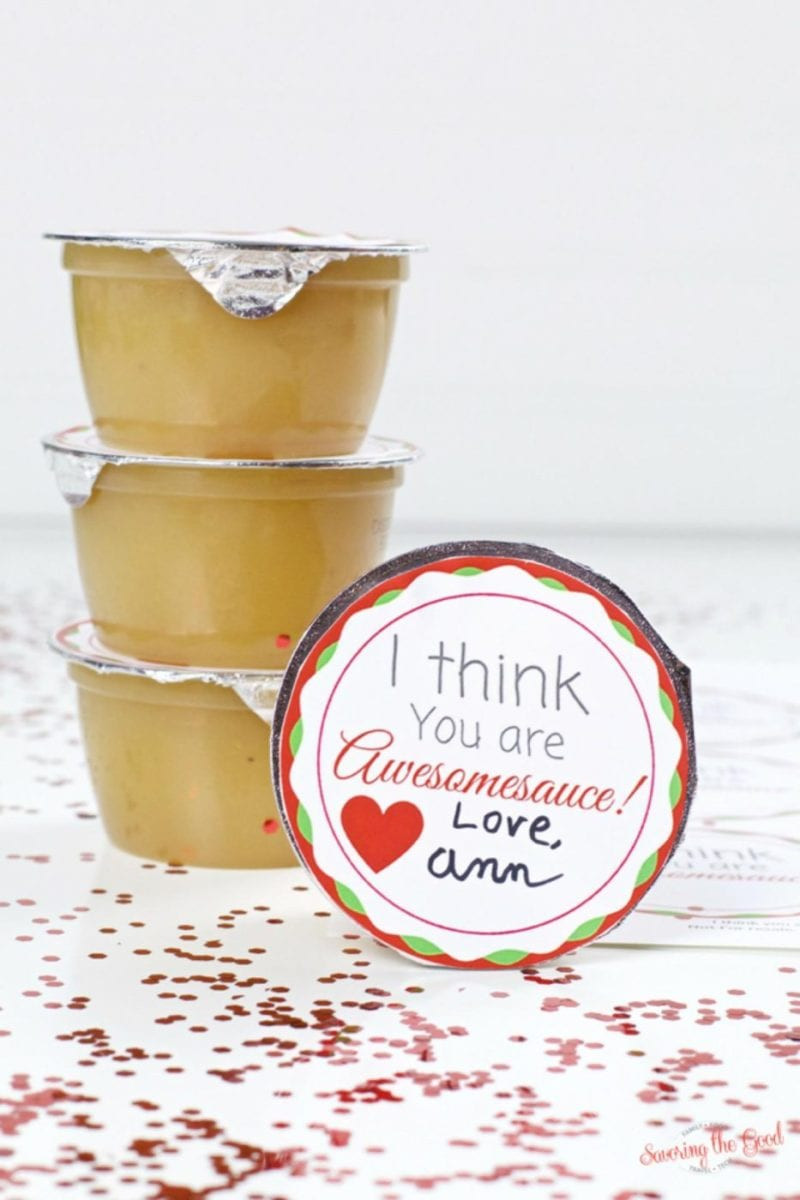 I think you are awesomesauce sticker on top of a single serving cup of applesauce for Valentine's Day