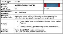 Awarded to Young Marine who through personal example and enthusiasm actively recruits new youth members into unit.
