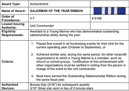 Young Marine Salesman of the Year Ribbon