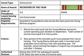 Awarded to Young Marine who recruits the most youth into Young Marines program.